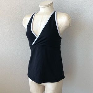 Lululemon black with white racer back workout top